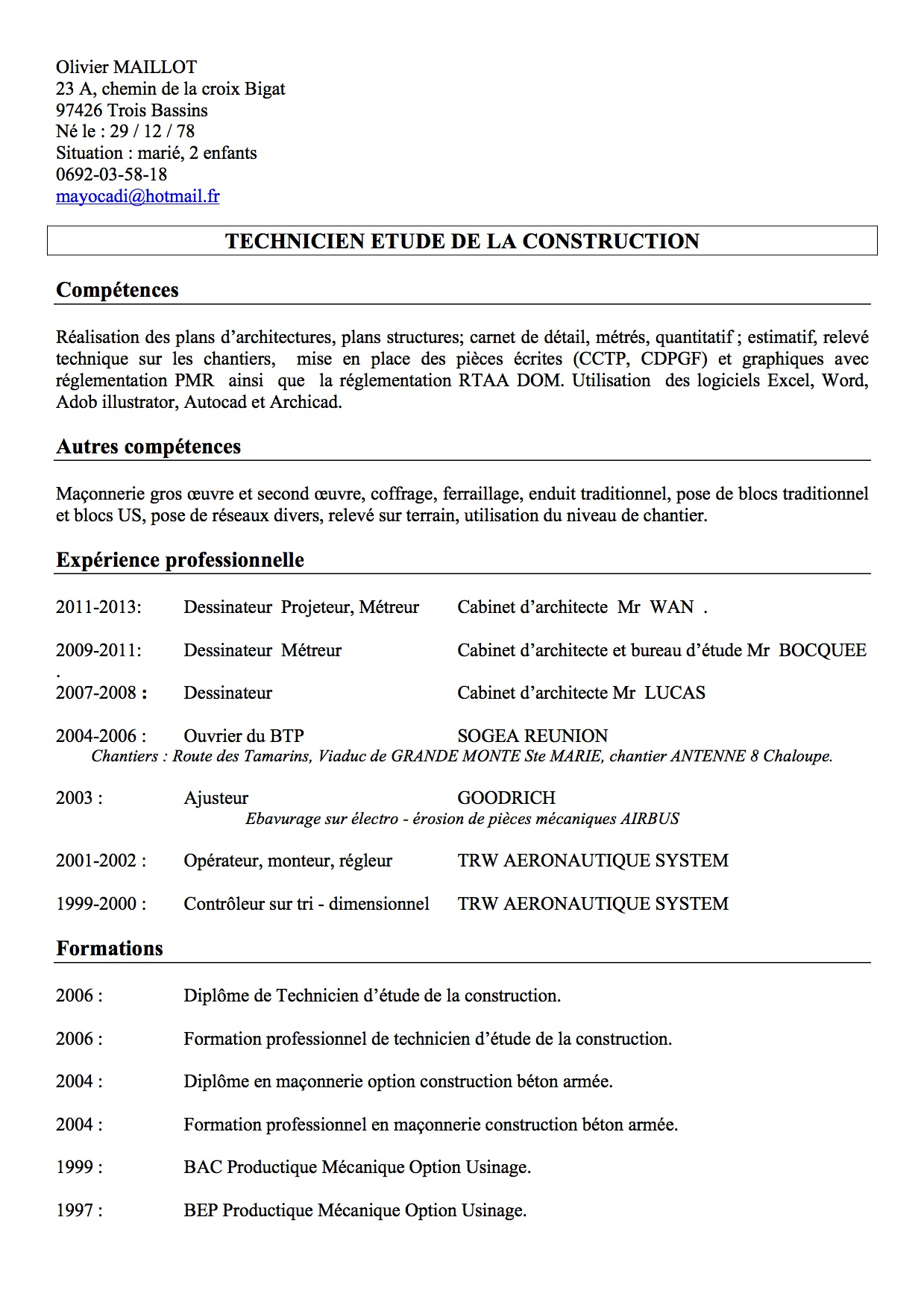 recherche un poste de technicien  u00e9tude de la construction  u2013 archi re    architectures  u00e0 la r u00e9union
