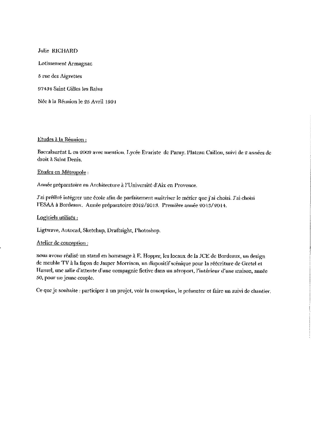 Demande de stage de 3eme ann e licence d arts plastiques for Stage architecte interieur