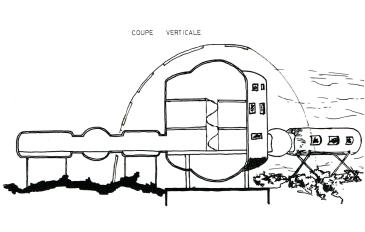 Coupe du projet de centre sous-marin.