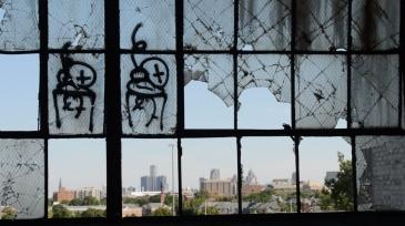 Detroit. Fisher Body Plant. Vue sur Downtown