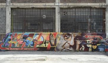 Detroit Russell Industrial. Center. Fresque en l'honneur d'Albert Kahn, l'architecte de Detroit