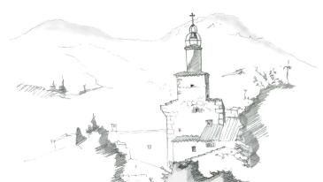 Croquis de la tour d'horloge de Castelle réalisé par Etienne Bertoldt